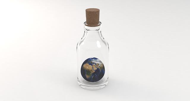 zeměkoule v lahvi