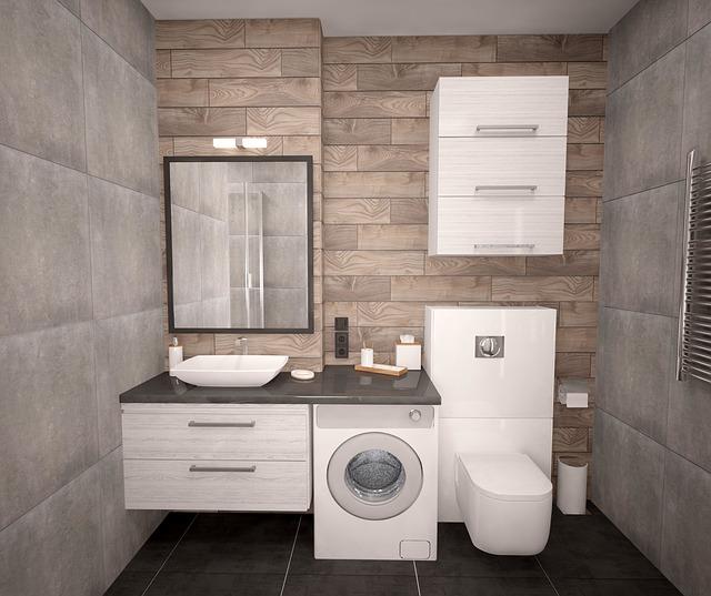 šedý nábytek do koupelny